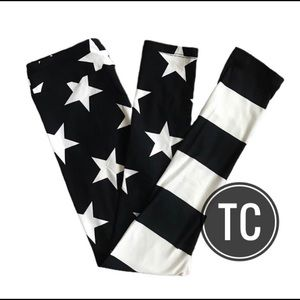 Lularoe TC black white stars stripes leggings